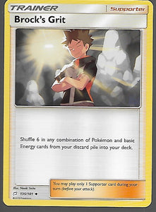 Pokemon Team Up #135 BROCK'S GRIT Uncommon Trainer