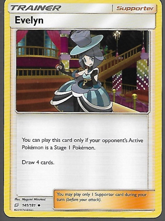 Pokemon Team Up #141 EVELYN Uncommon Trainer