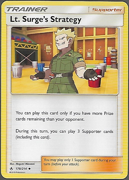 Pokemon Unbroken Bonds #178 LT. SURGE'S STRATEGY Uncommon Trainer