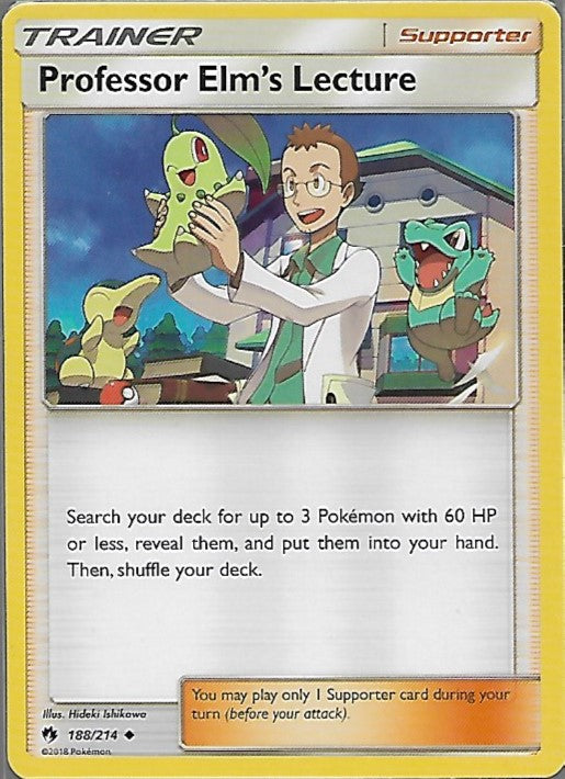 Pokemon Lost Thunder #188 PROFESSOR ELM'S LECTURE Uncommon Trainer