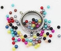 Coloured Pearl Floating Charms ~ 6mm ~ Flat Back