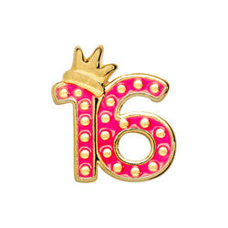 16 with crown - Happy 16 Birthday Floating Locket Charm