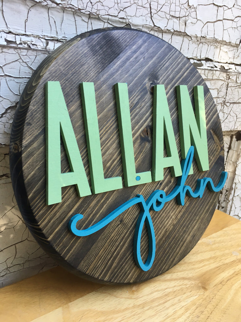 "* 12"" Wood Circle Sign / Custom Made Name Round Sign / 3D Name / Nursery Name Sign / Wood Decor"
