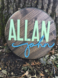 "* 15"" Wood Circle Sign / Custom Made Name Round Sign / 3D Name / Nursery Name Sign / Wood Decor"