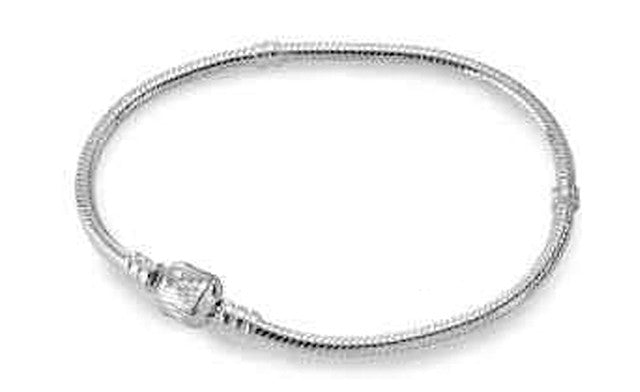 "Classic Clasp Silver Plated Bracelet for ""Pandora"" Style Beads"