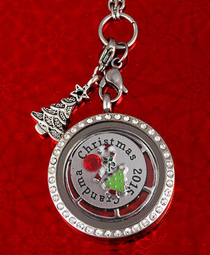 Silver ~ Christmas Tree Locket Dangle