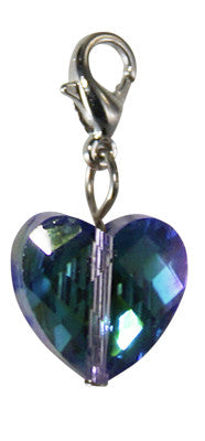 Gem Heart ~ Denim Heart Gem Locket Dangle