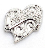 Daughter Heart - Silver Scroll Floating Locket Charm