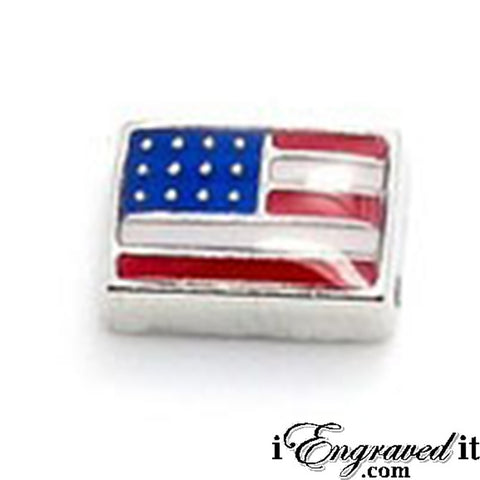 American Flag Floating Locket Charm