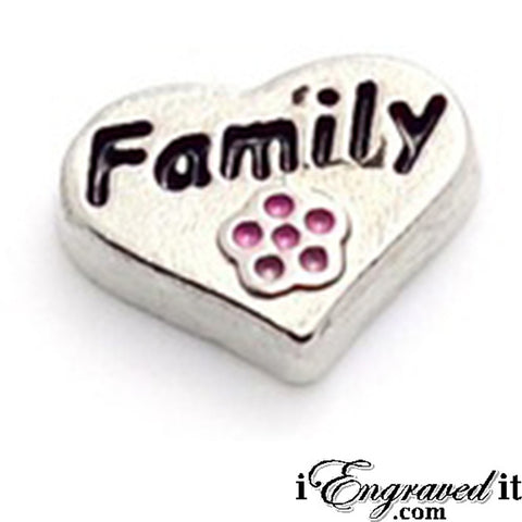 Family Silver Heat with Flower Floating Locket Charm