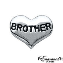 Brother Silver Heart Floating Locket Charm