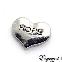 Hope Silver Heart Floating Locket Charm