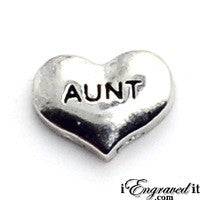 Aunt Silver Heart Floating Locket Charm