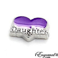 Daughter Heart - Purple Floating Locket Charm