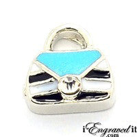 Purse - Black and Teal Floating Locket Charm