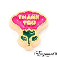 Thank You Flower - Pink Floating Locket Charm