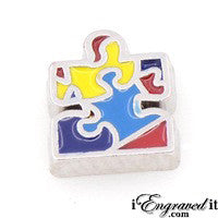 Autism Puzzle Piece Floating Locket Charm