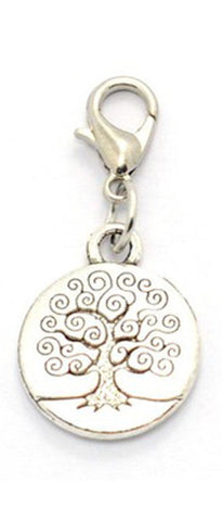 Silver ~ Round Family Tree Locket Dangle