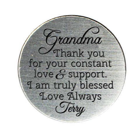 Thank You Grandma Locket Plate for 30mm or 25mm Locket ~Choose Your Colour!