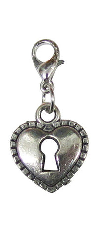 Silver ~ Heart Lock Locket Dangle
