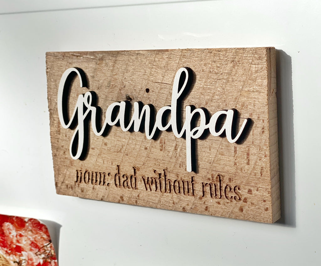 "Grandpa noun: dad without rules - definition Mini Barnwood Magnet made with Authentic Barn Wood 3"" x 5"""