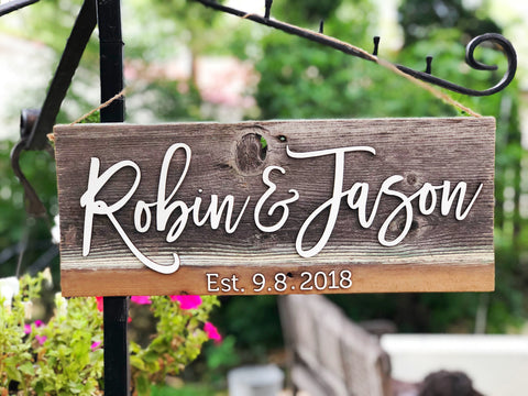 CUSTOM family name / couple's name with EST date Authentic Barn wood Sign with 3D Cut wood letters