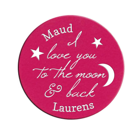 Personalized I love you to the Moon & Back Locket Plate for 30mm or 25mm Locket ~Choose Your Colour!