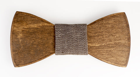 "Knot ~ Beige Tweed Wooden Bow Tie Fabric ""Knot"""