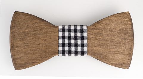 "Knot ~ Black Gingham Wooden Bow Tie Fabric ""Knot"""