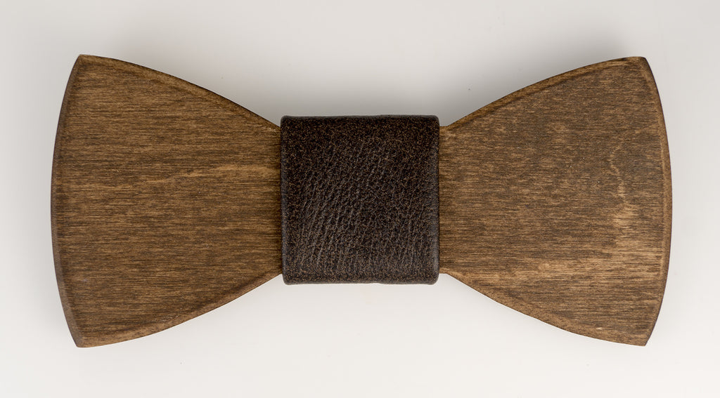 "Knot ~ Brown Leather Wooden Bow Tie Fabric ""Knot"""