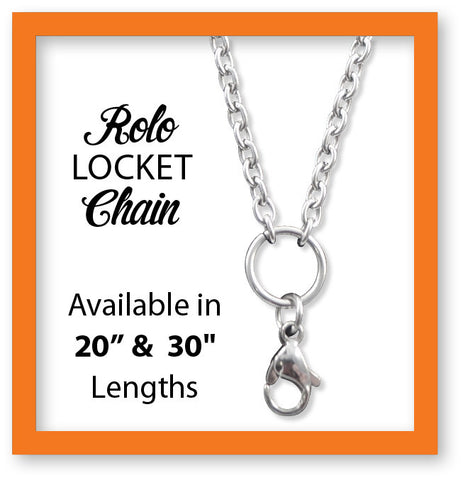 "Stainless Steel Rolo Locket Chain - 2 sizes! 20"" & 30"""