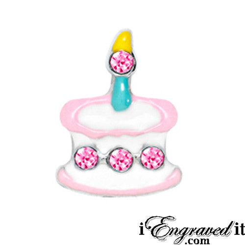 Birthday Cake - Pink Stones Floating Locket Charm