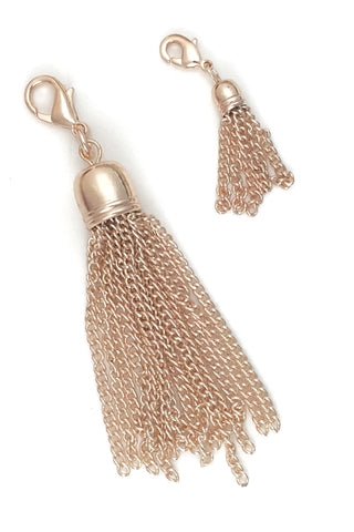 Rose Gold Tassel - Large or Small Floating Locket Dangle