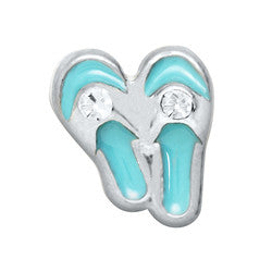 Aqua Blue Flip Flops Floating Locket Charm