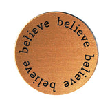 BELIEVE Inspirational COPPER Locket Plate ~Choose Your Size!