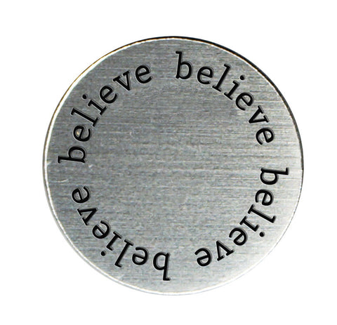 BELIEVE Inspirational Silver Locket Plate ~Choose Your Size!