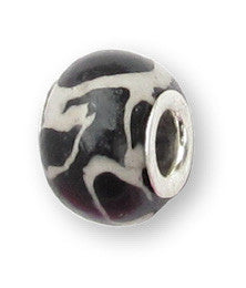 Black Swirl Ceramic Fimo Bead
