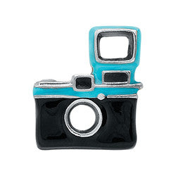 Camera - Black & Teal Floating Locket Charm