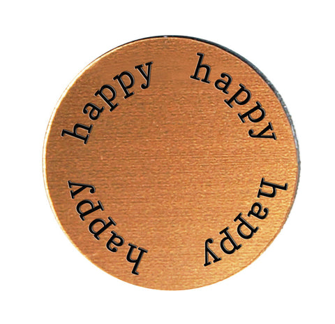 HAPPY Inspirational COPPER Locket Plate ~Choose Your Size!