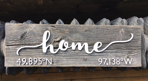 "home CUSTOM GPS Coordinates Authentic Barn wood Sign 5-7"" x 15"" with cut out 3D Numbers"