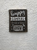 "Happy Campers with CUSTOM Names Authentic Barn wood Sign with cut out 3D Words 6-8""x12"""