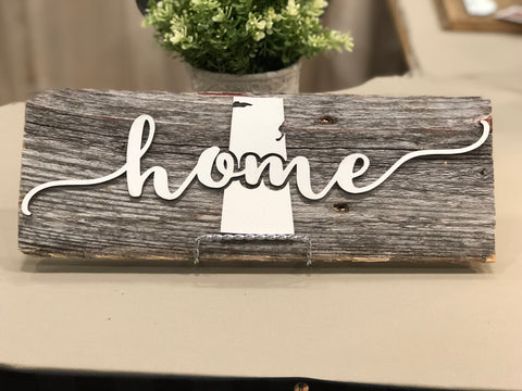 "home Saskatchewan Authentic Barn Wood Sign 5-6"" x 15"" with 3D cut letters"
