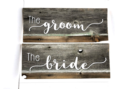 "The Bride and The Groom SET Authentic Barn Wood Signs 7-8"" x 16"" with 3D cut letters"
