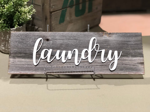 "Laundry Authentic Barn Wood Sign 5-6"" x 15"" with 3D cut letters"
