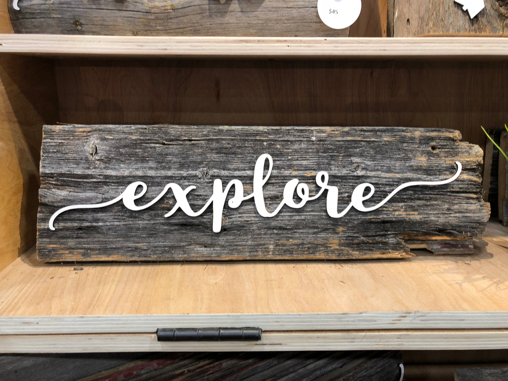 "Explore with Compass Barn Wood Sign 15"" with 3D cut letters"