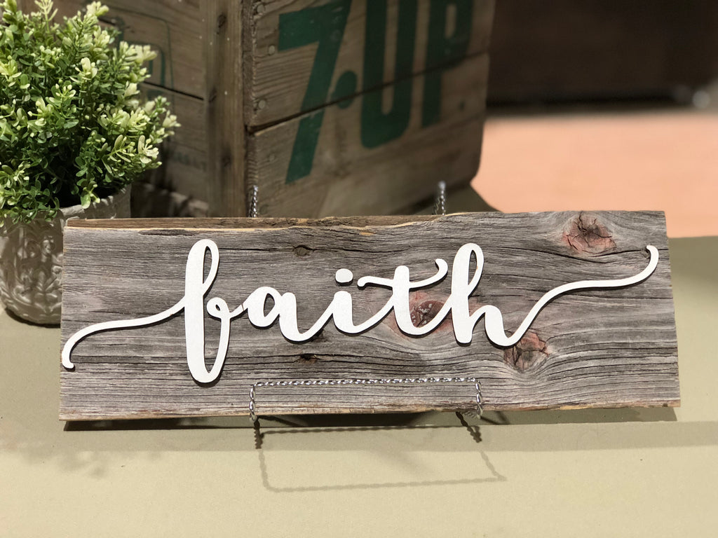 "Faith Authentic Barn Wood Sign 5-6"" x 15"" with 3D cut letters"