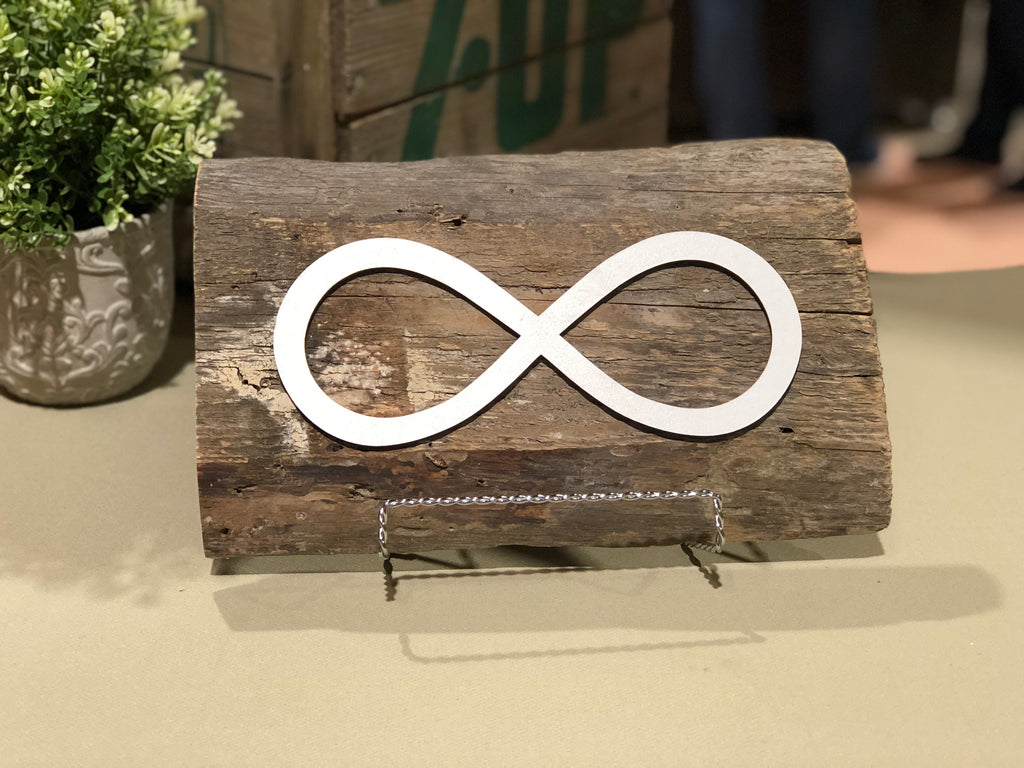 "Metis - Infinity symbol Authentic Barn Wood Sign 7"" x 12"""