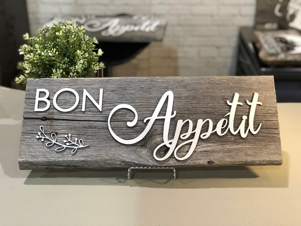 "Bon Appetite Authentic Barn Wood Sign 7-8"" x 20"" with 3D cut letters"