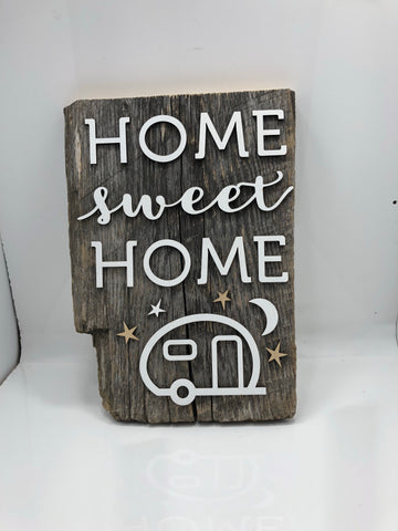 "HOME sweet HOME camper Barn Wood LIVE EDGE Sign 16"" with 3D cut letters"