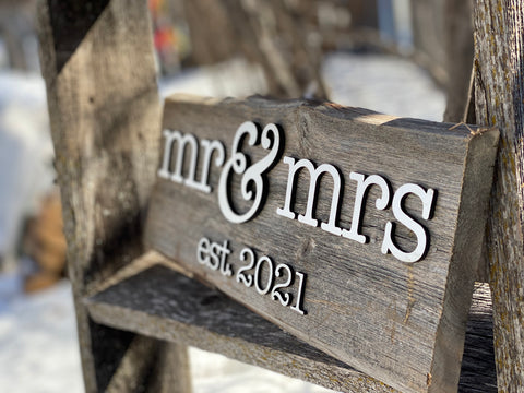 "Mr & Mrs Est. 2021 Sign 5-6"" x 15"" with 3D cut letters"